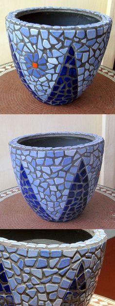 DIY Mosaic Blue Flower Pot - Mosaik Blumentopf - Mosaique Pot de Fleur - Broken Ceramic Tiles - Craft By Alea Mosaik