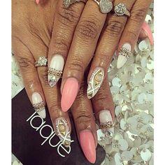 Pink nude white gold almond nail art
