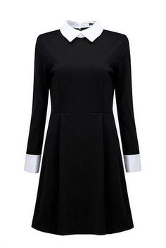 Wednesday Addams Halloween Dress Costume Black dress with White Round or Square… Wednesday Addams Halloween Costume, Wednesday Addams Dress, Halloween Dress, Halloween Clothes, White Collar Dress, Peter Pan Collar Dress, Collared Dress, Pretty Outfits, Cute Outfits