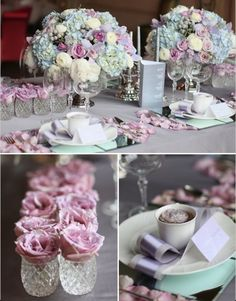 Pastel arrangement and table setting