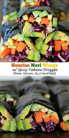 Eat the rainbow! These Sunrise Nori Wraps with Spicy Tahini Drizzle are SO easy to make, plus they're super healthy and absolutely delicious! Get the gluten free, vegan, paleo recipe, at The Spicy RD.