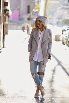 Beanie, riped light denim, white blouse, grey maxi cardigan and Valentino heels