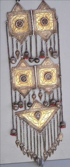 Rare style Kazakh gilt silver with carnelian set stones 19th c (private collection Linda Pastorino)