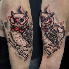 Tattoo, tatts, owl tattoo, owl, old school tattoo