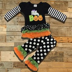 "Polka Dot Halloween ""BOO"" Ghost Ruffled Boutique Outfit"
