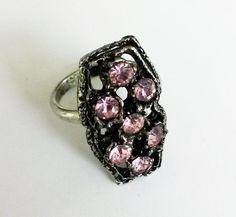 Vintage Pink Rhinestone Dark Silver Tone Adjustable Ring Sz 6 Hollywood Regency  #NotSigned #Cluster
