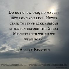 Wisdom Sayings & Quotes QUOTATION – Image : Quotes Of the day – Description Albert Einstein quote ~ never grow old! Sharing is Caring – Don't forget to share this quote with those Who Matter ! Now Quotes, Great Quotes, Quotes To Live By, Life Quotes, Inspirational Quotes, Motivational, People Quotes, Lyric Quotes, Movie Quotes