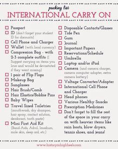 Packing Tips: International Carry On Checklist...pretty basic stuff but a reminder never hurts