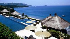 The 3-tiered pool at the Amankila Resort in East Bali