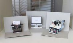 DIY pop-up cards: typewriter, computer, Polaroid