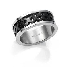 anillo caballero bicolor negro ip acero…