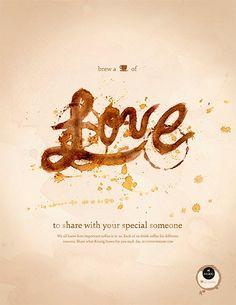 Keurig, cup of the day love. Cartel publicitario día de San Valentín.