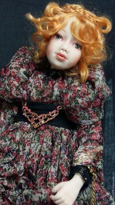 Купить Лилия - бордовый, кукла, авторская кукла, интерьерная кукла, ручная работа, единственный экземпляр