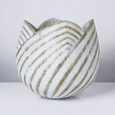 Tulip Vase, circa 1989 , Stoneware, rounded form with cut and formed rim, mottled white glaze with overlapping green diagonal linear pattern accent. Ceramic Bowls, Ceramic Pottery, Stoneware, John Ward, Tulips In Vase, Linear Pattern, Pinch Pots, Ceramics Projects, Modern Ceramics