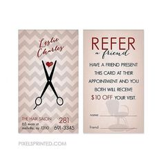 hairstylist referral cards - color both sides - FREE UPS ground