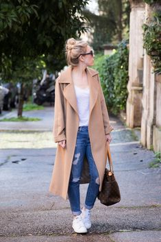 Max Mara 'Manuela' camel hair wrap coat outfit, camel coat with tee and distressed denim, how to wear a camel coat, camel coat with v-neck tee and sneakers outfit