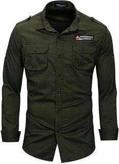 Men's Button Down Casual Shirts Long Sleeve Regular Army Green Casual Shirts For Men, Casual Button Down Shirts, Men Casual, Men Shirts, Cargo Shirts, Stylish Shirts, Fall Shirts, Work Shirts, Green Shirt Dress