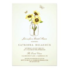 Vintage Rustic Sunflowers Bridal Shower Invitation