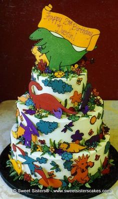You can eat these dinosaurs! #desserts #cakes #birthdaycake #dinosaurs #SweetSisters