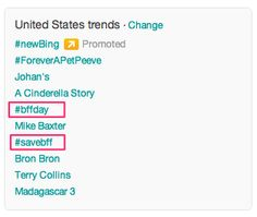 9:11 EST #bffday #savebff continue to trend in the US