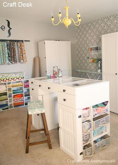 Craft Organization Week: Craft Desk FABULOUS craft rom and desk. Love the muted gray wallpaper and the yellow-painted chandelier. Also, note the cool glass-top desk! Craft Room Desk, Craft Room Storage, Craft Organization, Craft Rooms, Fabric Storage, Fabric Boxes, Fabric Basket, Storage Ideas, Space Crafts