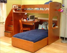 Idyllic Boys Room Designs With Modern Details : Sliding Bed Under Workspace  Beside Closet In Boys Bedroom | Boys Room | Pinterest | Blue Pictures, ...