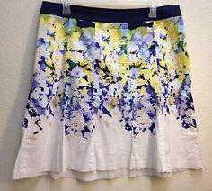 Ann Taylor Dark Blue Jean Denim Button Front Flare A-Line Skirt ...