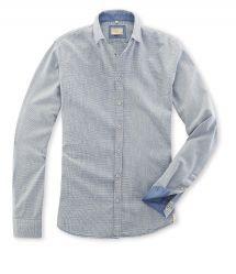 Q1 Hemd MAIK in Glencheck-Karo Denimfarben mit Beige in 100% Baumwolle Slim Fit, Shirt Dress, Mens Tops, Shirts, Shopping, Dresses, Fashion, Fall Winter, Cotton
