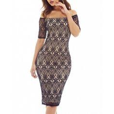 Koronkowa dopasowana sukienka midi odsłonięte ramiona beżowo czarna