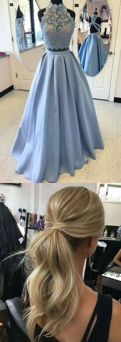 prom dresses, prom hair style, 2 pieces prom dresses with lace , chic blue party dresses, vestidos