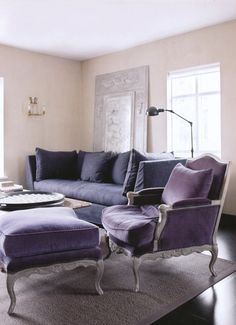 Purple furniture seems to be the new trend. Purple paint for my dresser and bedframe perhaps. Purple Home, Purple Furniture, Paint Furniture, Furniture Design, Purple Chair, Purple Interior, Living Spaces, Living Room, Interior Decorating
