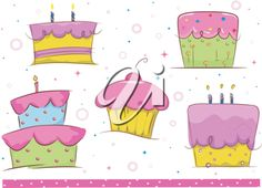 iCLIPART - Border Clipart Illustration Featuring Birthday Cakes