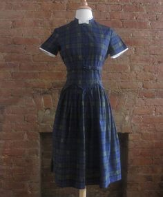 1950s blue plaid cotton day dress  size s/m  by GildedGypsies