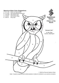 owl Patterns For Stained Glass Stained Glass Patterns Free, Stained Glass Quilt, Stained Glass Birds, Stained Glass Designs, Stained Glass Projects, Owl Mosaic, Mosaic Art, Mosaic Glass, Mosaic Mirrors