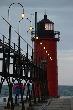 dawn at the lighthouse, South Haven, Michigan