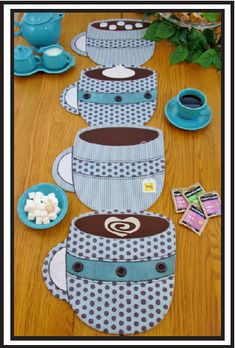 Coffee cup place mats!  So cute! neat idea!