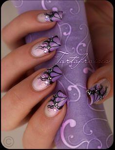♥ Nail Art beautiful purple french #nails
