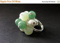 EASTER SALE Mint Julep Cocktail Ring Handmade in Jade Aventurine and Pearls. Handmade. by Gilliauna from Bits n Beads by Gilliauna. Find it now at http://ift.tt/2okD0xk!
