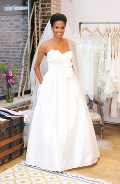Real bride Tonya models a Watters wedding gown. So beautiful!