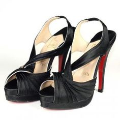 Cheap Christian Louboutin Fortuna Satin Slingbacks Black Sale : Christian Louboutin$187.87