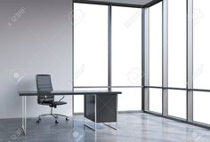 A workplace in a modern corner panoramic office, copy space on windows. A black leather chair and a black table. A concept of financial consulting services. 3D rendering. Foto de archivo - 42362658