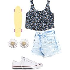 a awesome outfit to wear <3 with a penny board