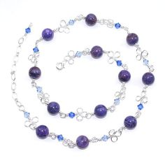 Purple Agate Necklace – Long Silver Clover Leaf Wire Wrap Necklace – Swarovski Crystal Necklace – Mothers Day Gift