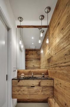 plan vasque salle de bains revêtement mural en bois naturel