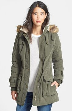 DKNY Faux Fur Trim Anorak (Regular & Petite)