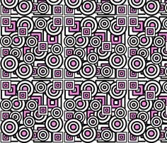Dizzy Circles and Quirky Squares with hot pink fabric by minniemeatdaydreamstudio on Spoonflower - custom fabric