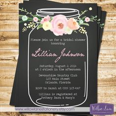 Vintage Mason Jar Bridal Shower Invitation Pink Flowers Blue Mason Jar Bridal Shower Invite - Chalkboard Wedding Shower - 1324 PRINTABLE