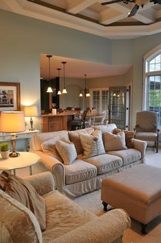 Family Room Painted with a Side of Painter's Remorse Wedding Ceremony Ideas, Room Paint Colors, Paint Colors For Living Room, Cozy Living Rooms, New Living Room, Small Living, Living Area, Living Room Color Schemes, Living Room Designs