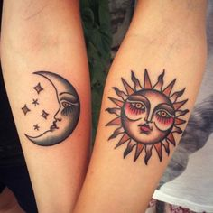 Traditional matching sun and moon tattoos. Tattoo artist: Anem