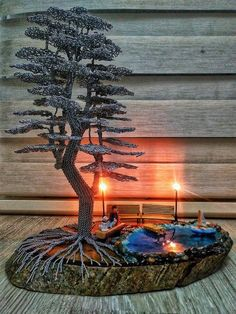 A bonsai tree made of wire will perfectly decorate your home interior Wire Tree Sculpture, Sculpture Art, Bonsai Wire, Wire Trees, Metal Tree, Handmade Wire, Tree Art, Decorating Your Home, Fountain